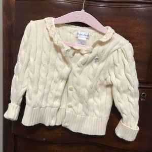 Ralph Lauren Cream Cardigan with crochet collar 9m